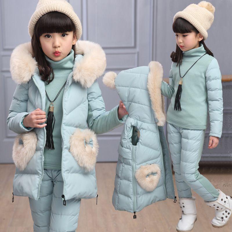 New Kids Girls Winter Clothes Sets 3pcs Fleece Lining Thicken Turtleneck T-shirt+ Vest + Pants Girls Clothing Set Girls Outfit