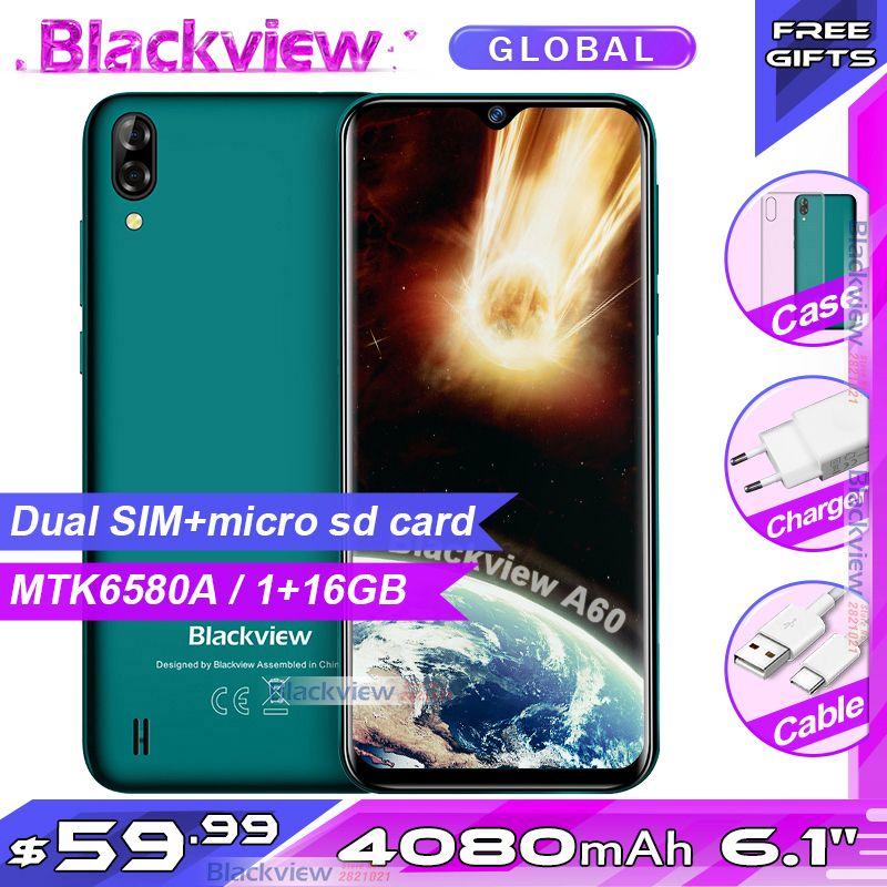 Nouveauté Blackview A60 Smartphone 4080 mAh batterie 19:9 6.1 pouces double caméra 1 GB RAM 16 GB ROM téléphone portable 13MP + 5MP caméra