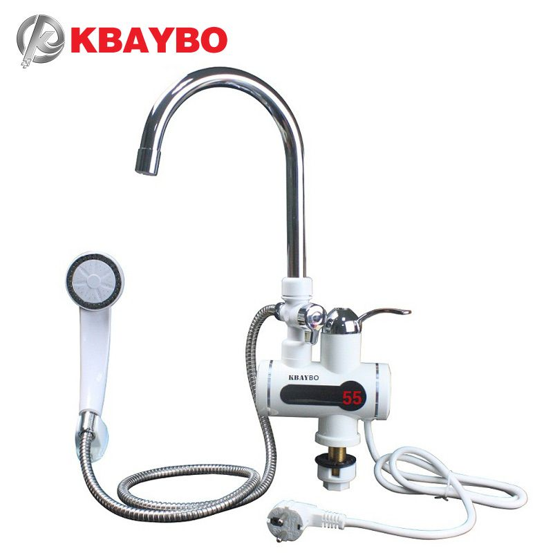 <font><b>3000W</b></font> Tankless Water Heater Shower Instant Water Water Heater Tap Kitchen Instant faucet 2 kinds of out mode