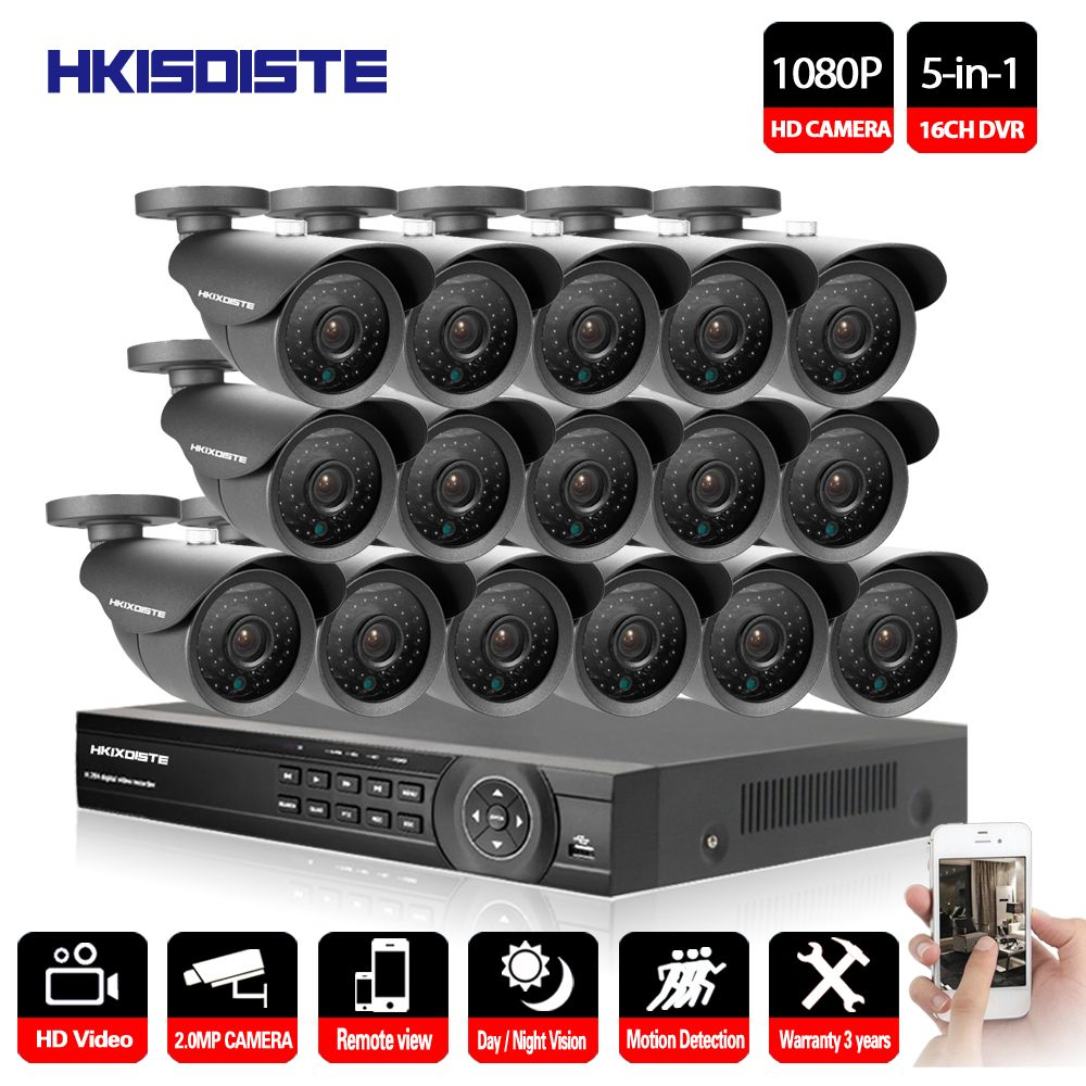 16CH AHD DVR 16Pcs 2.0MP 1080P Camera Security Surveillance CCTV System Outdoor Waterproof IR Night Vision HD Kit 16CH AHD 1080P
