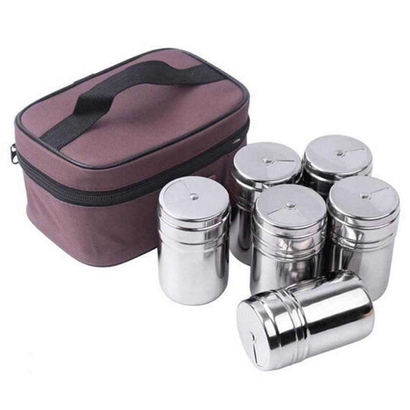 6 Pcs/S Extérieure Vaisselle En Acier Inoxydable Assaisonnement Boîtes Bouteilles pour Camping Voyage Cuisine Cuisine En Plein Air Batterie DE Cuisine BBQ