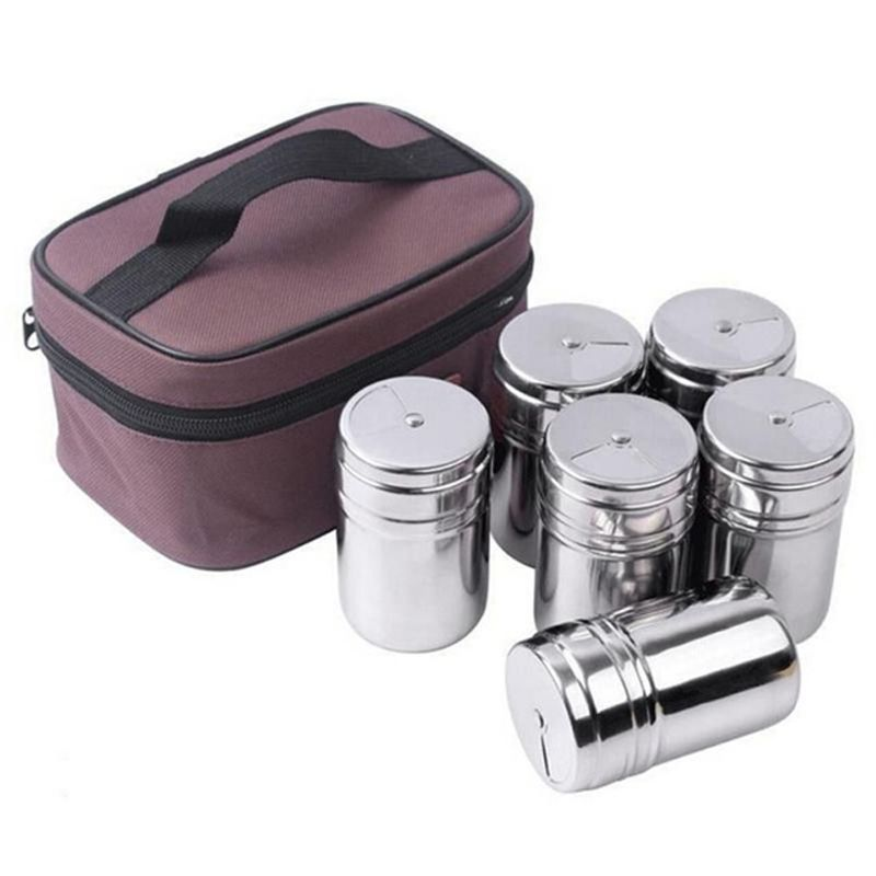 6 Pcs/S en plein air vaisselle en acier inoxydable assaisonnement canettes bouteilles pour Camping voyage cuisine en plein air cuisson BBQ ustensiles de cuisine