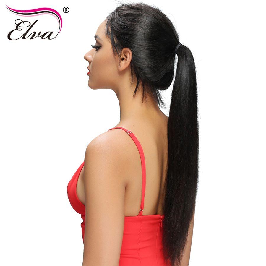 Elva Droite Avant de Lacet Perruques de Cheveux Humains Pré Pincées Avec bébé Cheveux Sans Colle Avant de Lacet Perruques Noeuds Blanchis Brésiliens Remy cheveux