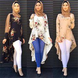 Мода 2017 г. мусульманская одежда длинные рукава с принтом, рубашки и Блузы для женщин Свободная блузка в стиле милитари, модель D309