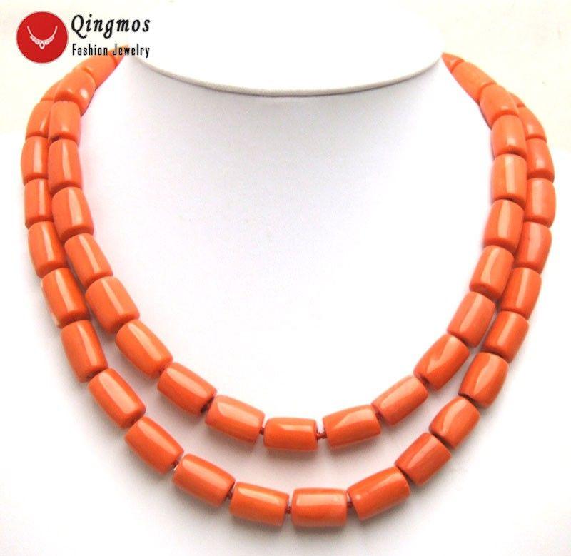Qingmos collier de corail Orange naturel à 2 brins de tranche épaisse pour femmes avec véritable collier de Chokers de corail 10-12mm 19-20