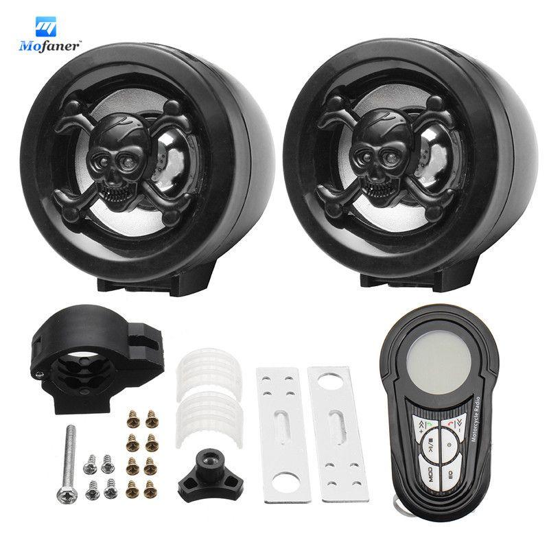 Mofaner 1 Set Waterproof Bluetooth Motorcycle Audio Radio Sound System Stereo Speakers MP3 USB Motor Radio