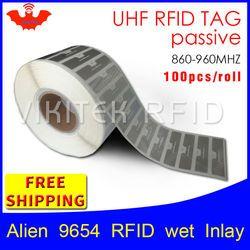 UHF RFID: EPC 6C Stiker Alien 9654 Basah Inlay 915mhz868mhz860-960MHZ Higgs3 100 Pcs Gratis Pengiriman Perekat Pasif RFID Label
