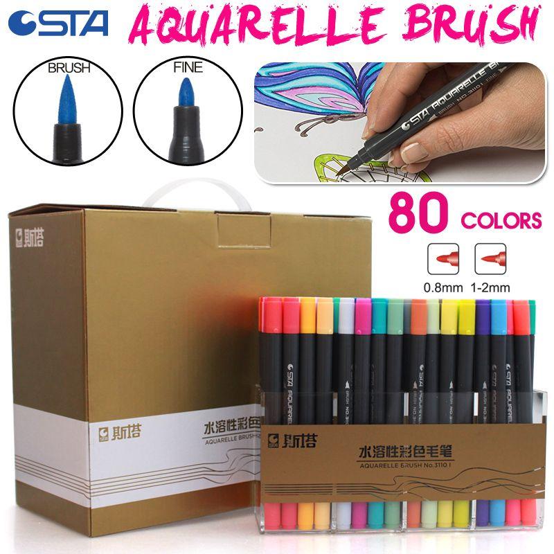 STA 80Color Watercolor Brush Art Marker Set Double Tip Fineline Color Pen Water Based Brush Marker for Color Book Drawing Sesign