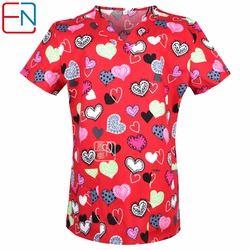Nuevo 0104 15 diseños en hennar mujeres médico Scrub Top con cuello en V 100% algodón uniformes médicos, quirúrgica Scrubs superior
