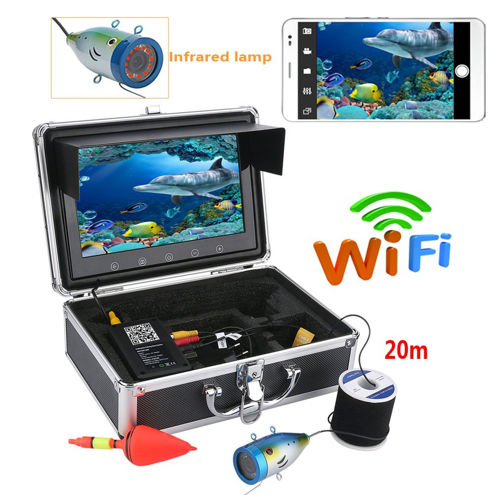 YobangSecurity 9 inch Monitor Wireless Wifi Underwater Fishing Camera Fish Finder Video Recorder Camera IR LED lights With APP