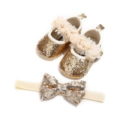 Zapatos bebé recién nacido lentejuelas brillo cuna zapatos Hairband Soft Sole Prewalker niño niños zapatos Casuales