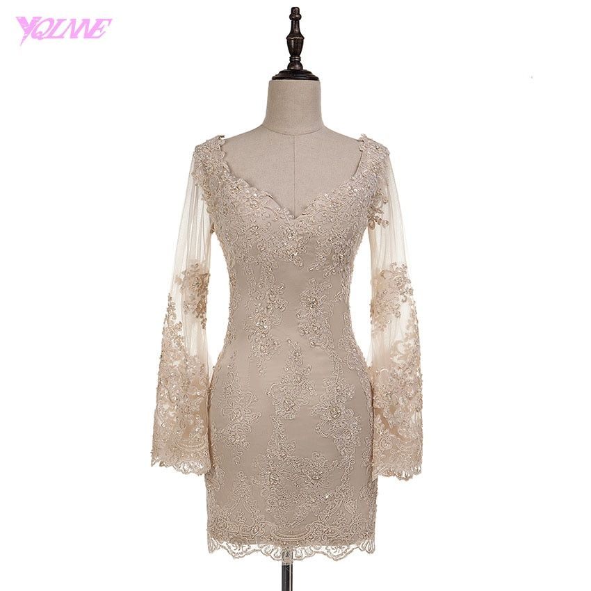 YQLANNE Elegent Champagne Cocktail Dresses Full Sleeve Formal Women Party Dress Beaded Knee Length Real Gown