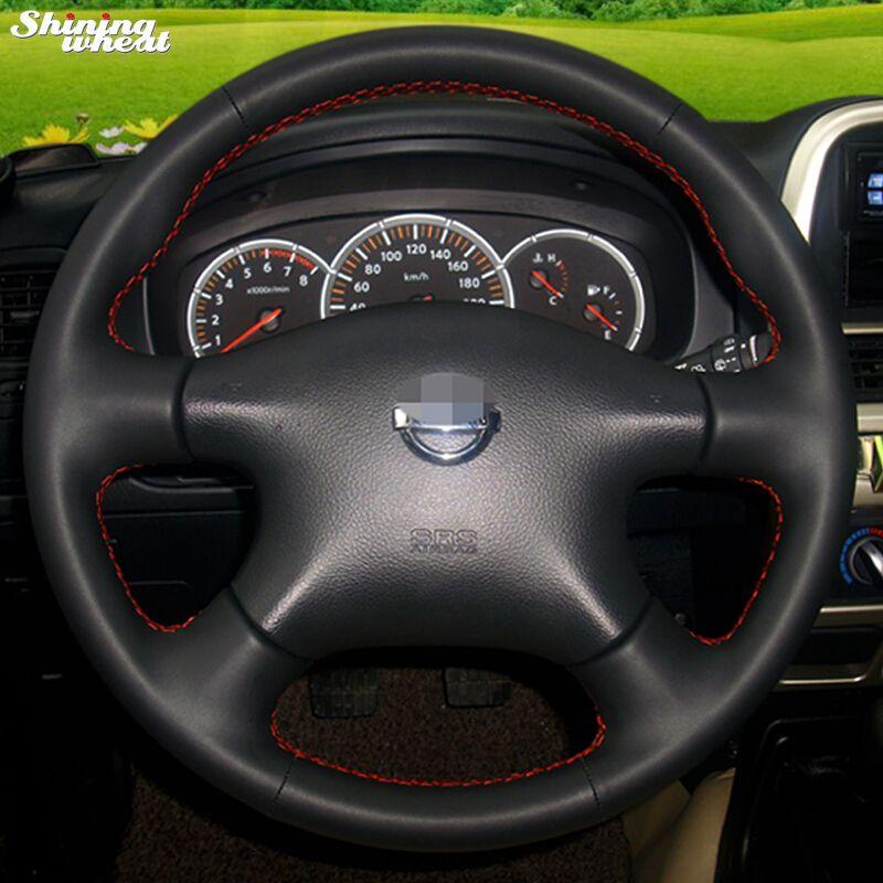 Glänzende weizen Leder Lenkradabdeckung für für Nissan Almera N16 Pathfinder Primera Paladin Alten X-trail XTrail 2001-2006