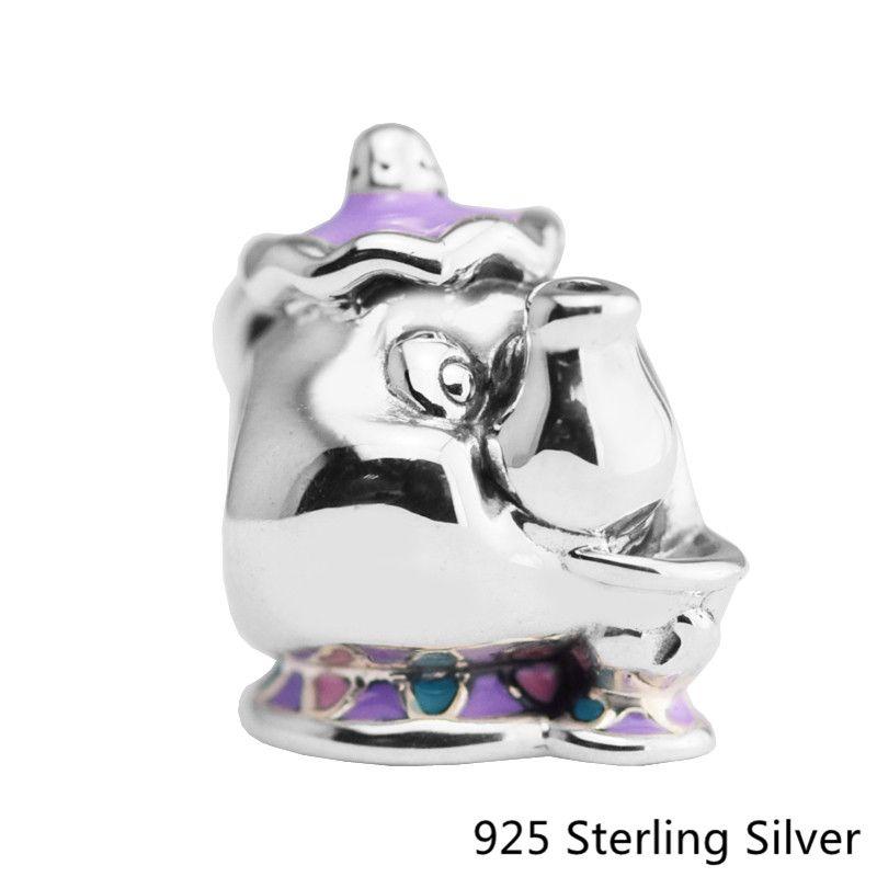 Beads Fits Pandora Bracelets 100% 925 Sterling Silver Jewelry Mrs. Potts & Chip, Mixed Enamel Original Charms CKK