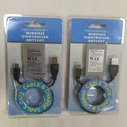 2X 1800mAh Battery+Charger Cable PS3 for Sony PlayStation3 Wireless Controller Rechargeable Batteries Li-Ion Lithium 3.7V