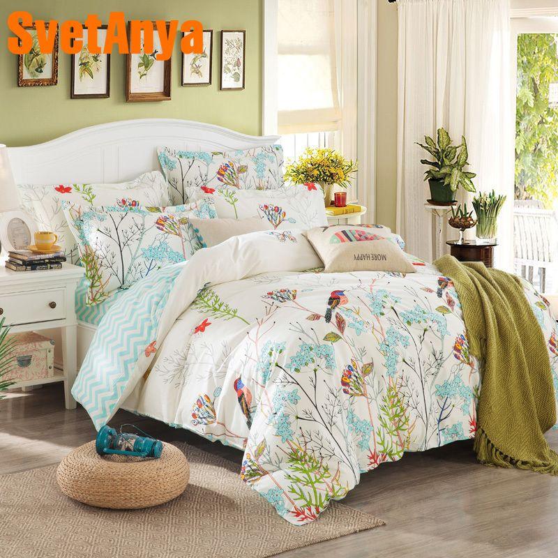 Svetanya Sheet Pillowcase Duvet cover set pastoral Bird printing Bedding sets queen double full Twin size Bedlinen 100% Cotton