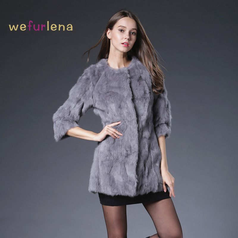 Free Shipping Genuine Rabbit Fur Coat long natural rabbit fur jacket Women Winter Rabbit Fur Waistcoat plus size w020
