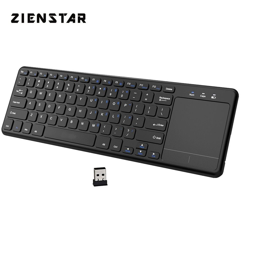 Zienstar 2.4Ghz Touchpad Wireless Keyboard for Windows PC,laptop,ios pad,Smart TV,HTPC IPTV,Android Box