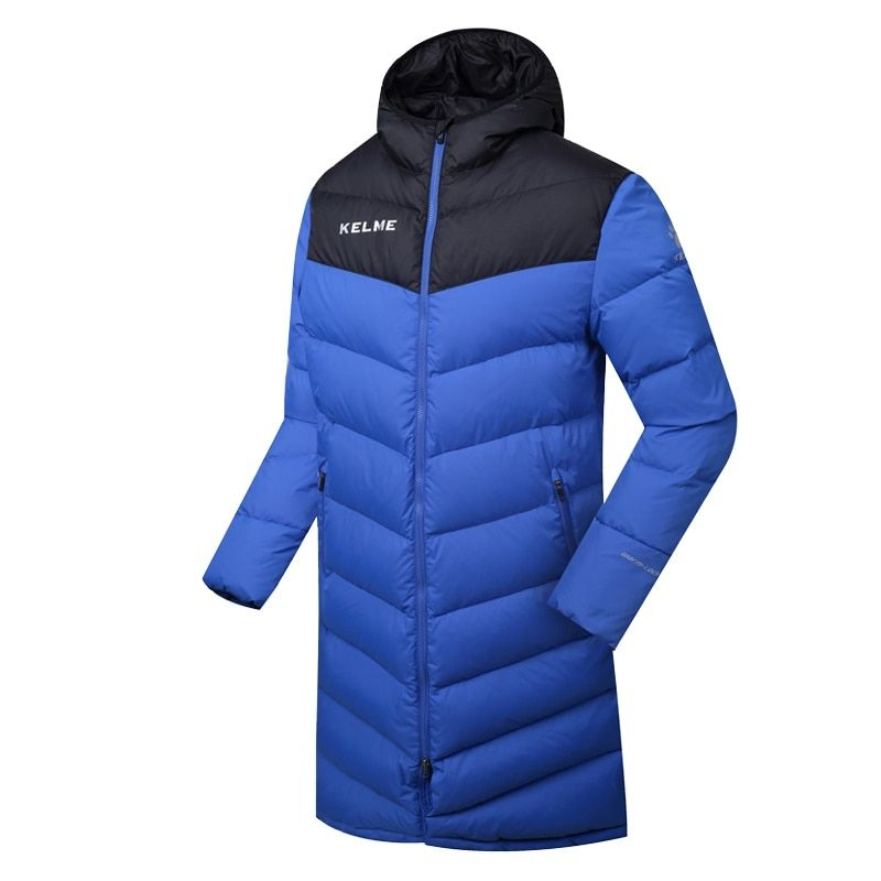 Wholesale 2016 Kelme K090 Men Long Hooded Winter Keep Warm Coat Training Sport Football Down Jacket Blue