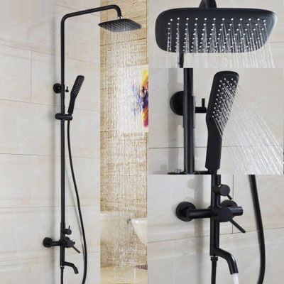 Bathroom Black Oil Paint Solid Brass Bathtub Shower Set Wall Mounted 8