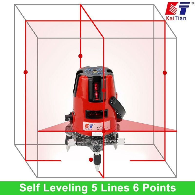 KaiTian Laser Level 5 Lines Professional Laser 635nm Slash Function Vertical Horizontal Self leveling  Cross Lazer Level Tools