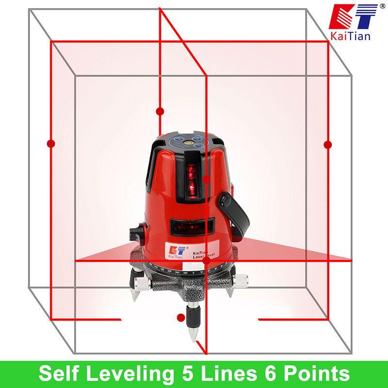 KaiTian Laser Level 5 Lines Professional Laser 635nm Slash Function Vertical Horizontal Self leveling Cross Lazer Level Tools