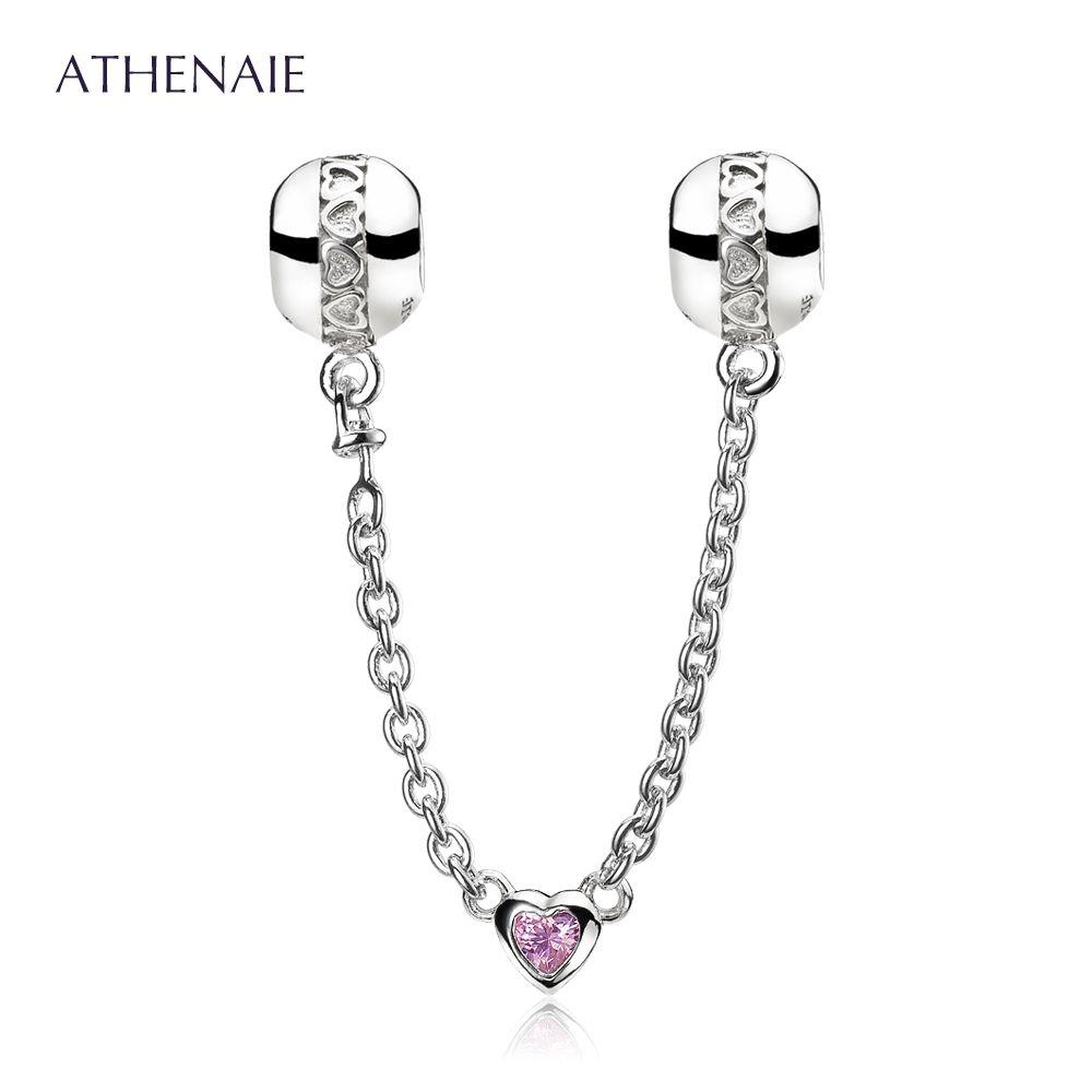 ATHENAIE Стерлингового Серебра 925 Love Heart Связи Ясно CZ Страховочную Цепь Приспосабливать Европейские Браслеты Цвет Красный и Розовый