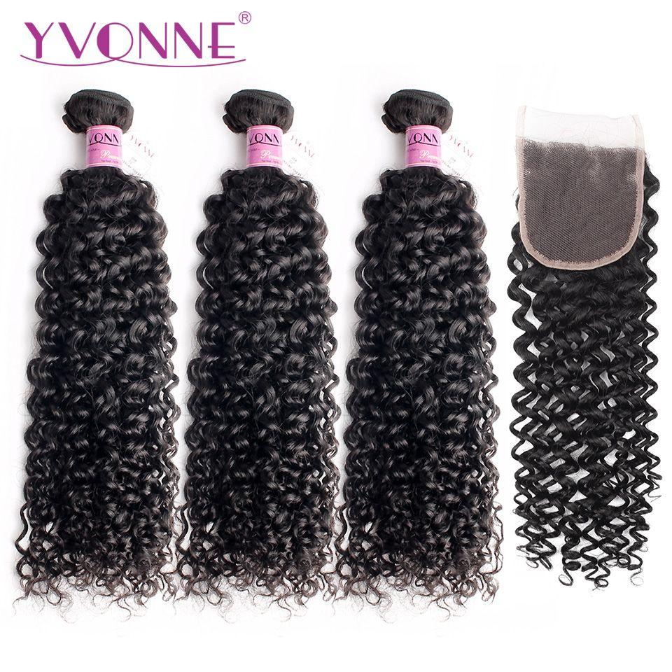 Yvonne Cheveux Malaisiens Bouclés Couleur Naturelle 100% Vierge de Cheveux Humains 3 Faisceaux Avec 4x4 Partie Libre Dentelle Fermeture livraison Gratuite