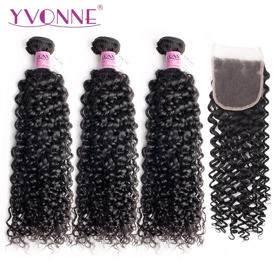 Yvonne Hair Malaysian Curly Natural Color 100% Virgin Human Hair 3 Bundles With 4x4 Free Part Lace Closure Free Shipping