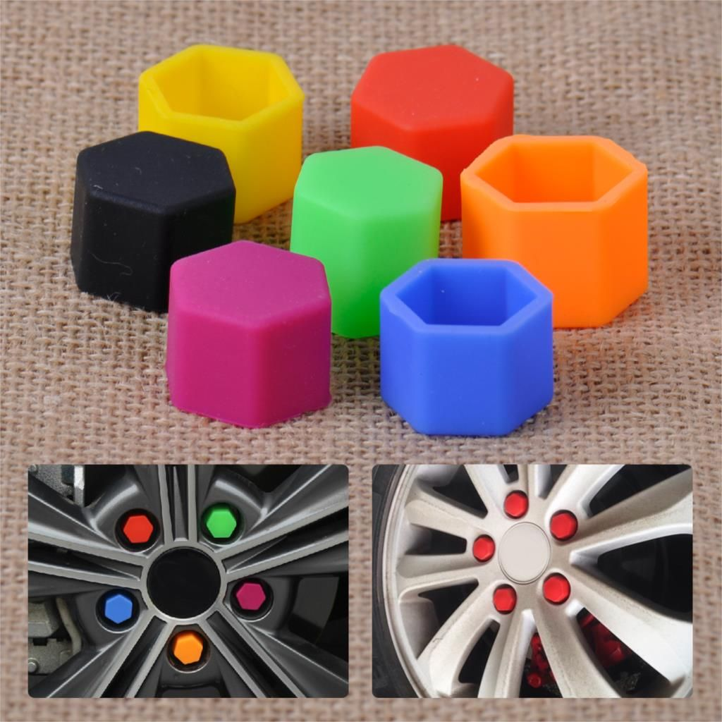 CITALL 20pcs 17mm Silicone Hexagonsal Car Wheel Lug Nut Caps Bolt Rims Bolt Cover Protector Tyre Valve Screw Cap Antirust Nut