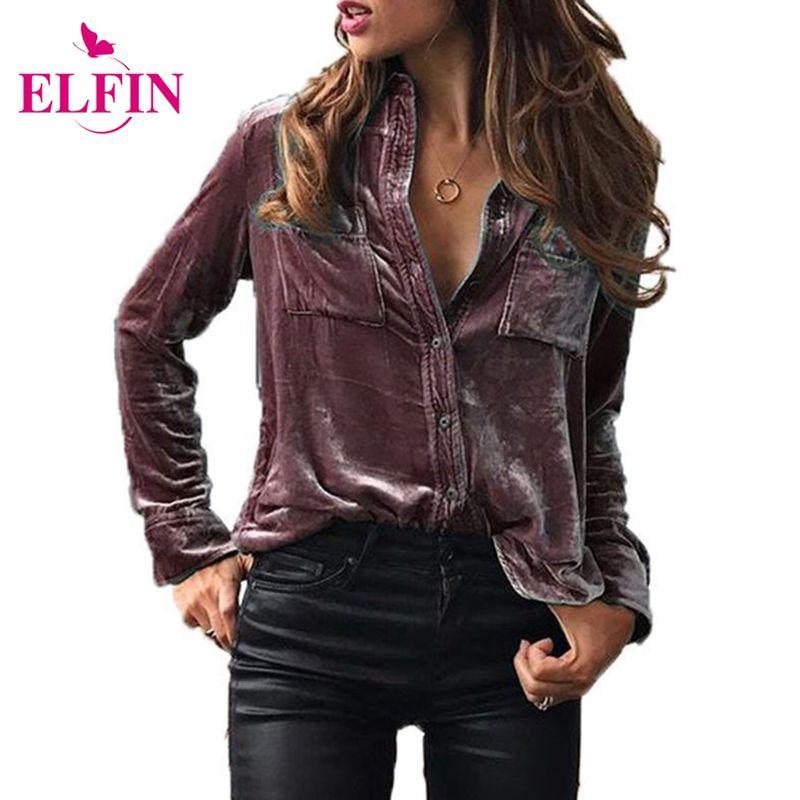 Fashion Women Blouse Shirt Long Sleeve Velvet Shirt <font><b>Button</b></font> Turn Down Collar Shirt Feminine Blouses Blue Ladies Tops LJ8153R