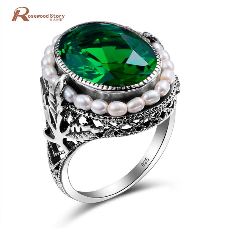 Genuine 925 Sterling Silver Ring Natural Pearl Vintage Green <font><b>Stone</b></font> Crystal Rings Jewelry for Women Wedding New Ring Wholesale
