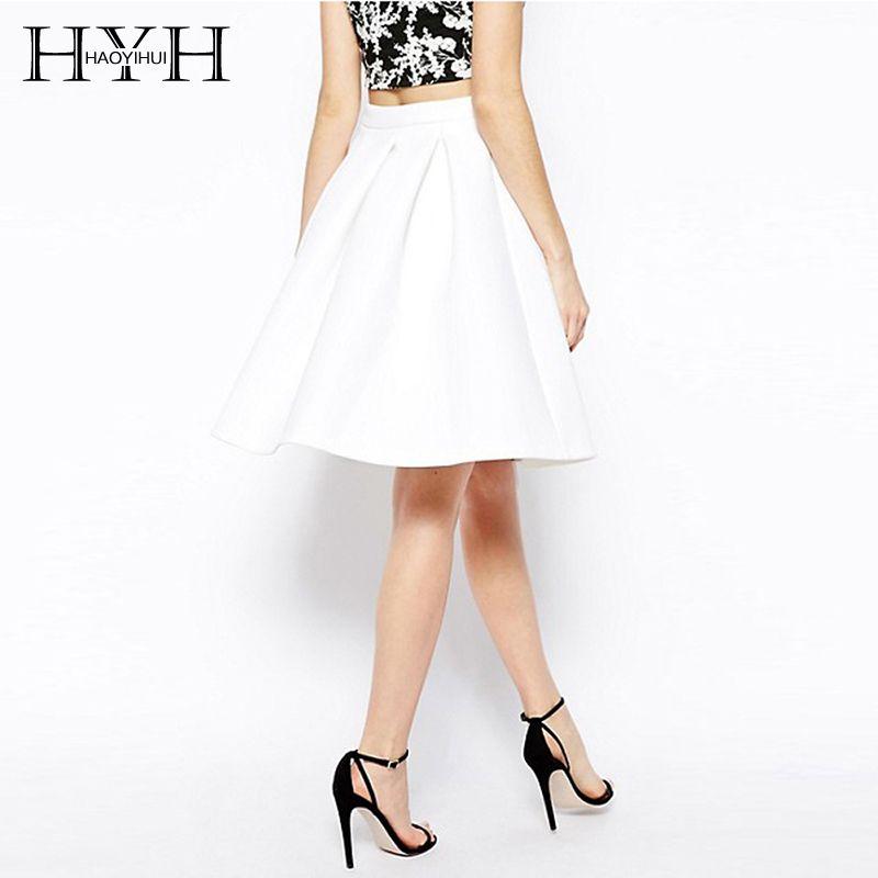 HYH HAOYIHUI Zipper blanc femmes une ligne taille haute mince basique pli dames élégant soirée Midi jupe plissée femme
