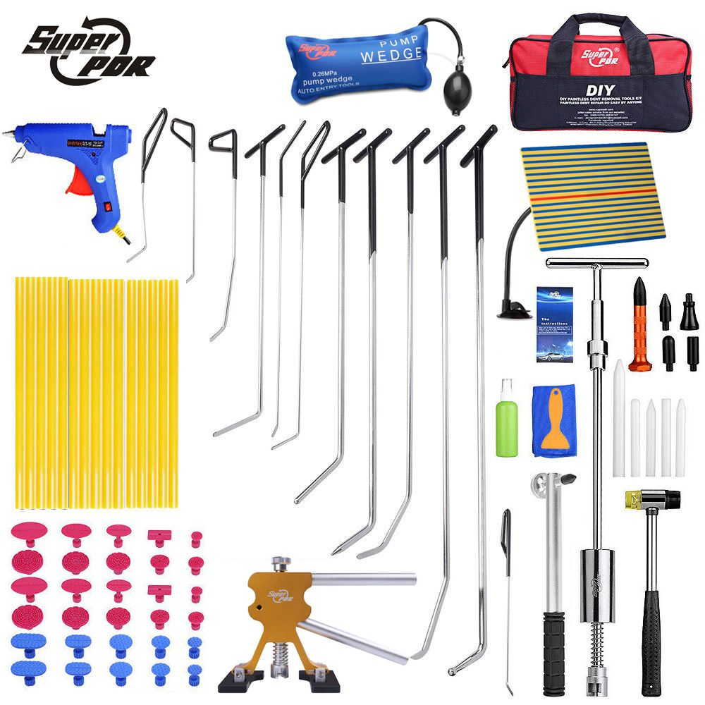 Super PDR Paintless dent repair tools set PDR hooks push rods profession car body dent removal Hail Damage Repair hand tools