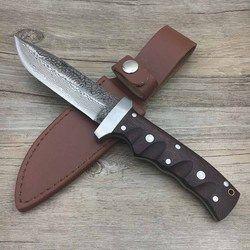 Ditempa baja Damaskus pisau lurus berburu kekerasan 62HRC Swayboo manual terbuka membela diri actical pisau pisau tetap