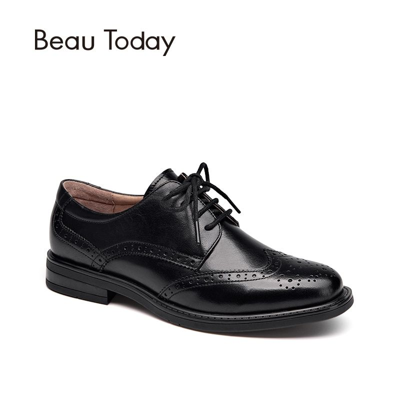 BeauToday Genuine Cow Leather Brogue Shoes Handmade Lace-Up Wingtip Round Toe Waxing Calfskin Top Quality Brand Shoes 21086