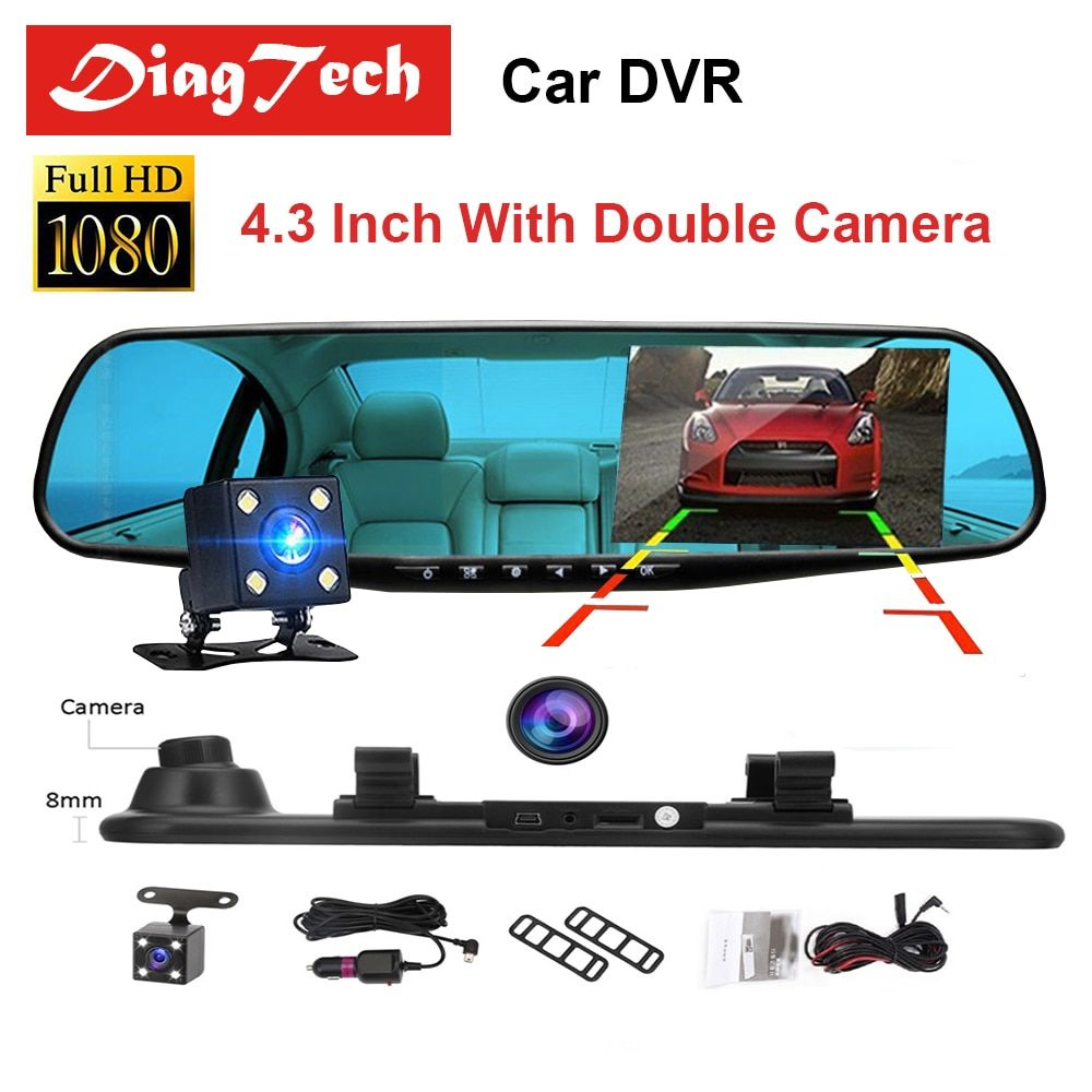 Gryan 4.3'' Car Rearview Mirror Car Dvr Camera HD 1080P Rear View Mirror Digital Video Recorder Dual Lens Auto Dash Cam