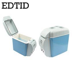 EDTID Mini refrigerador del coche Portable Auto hogar viaje nevera camión refrigerador congelador Oficina calentador de alimentos 7L 220 V 12 V