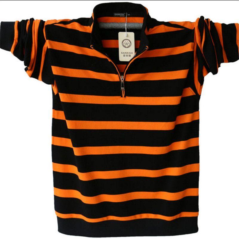 Hommes À Manches Longues Polo Plus La Taille Rayé Col montant Coton Chemises Hommes Casual Mens Revers Polos 4XL/5XL a1109