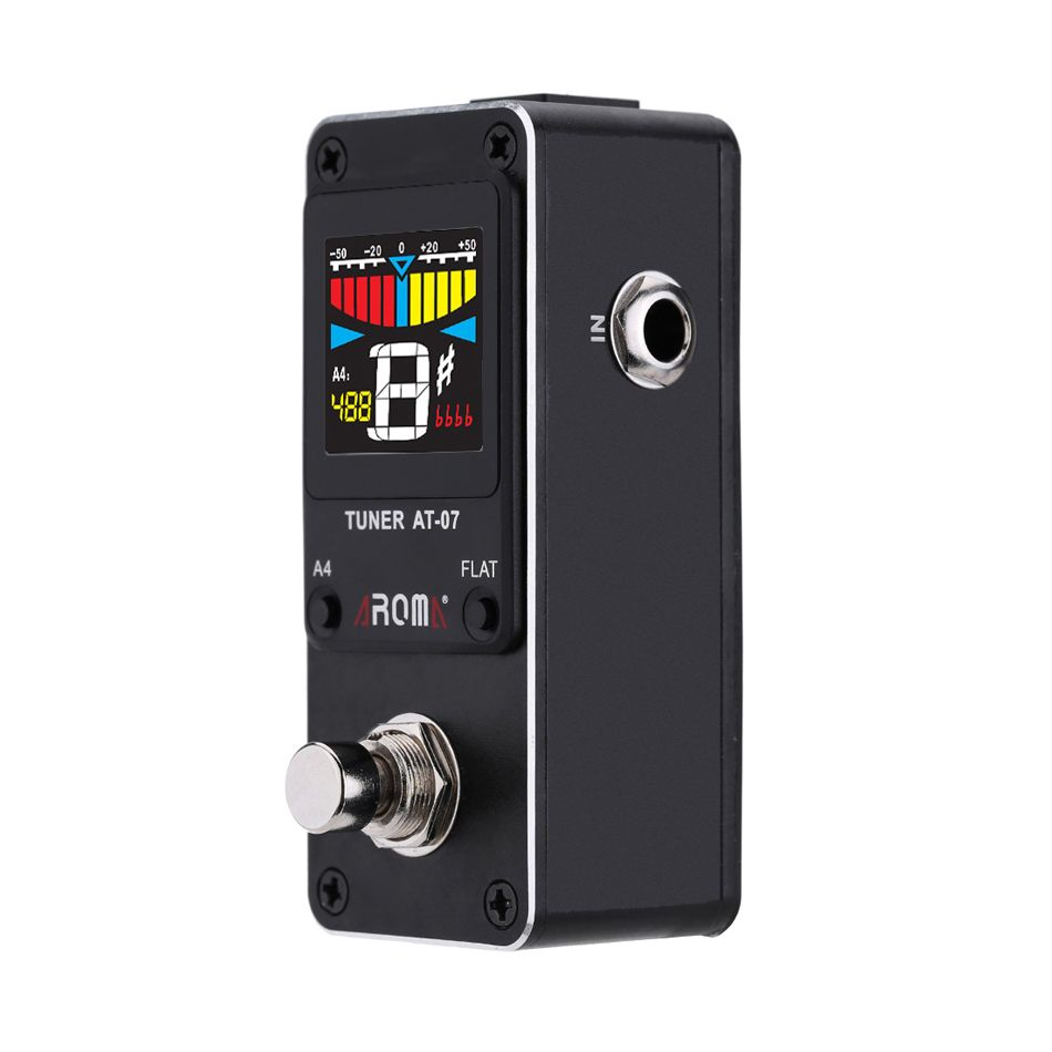 AROMA AT-07 Mini Foot Guitar Tuner Effect Pedal Guitarra Chromatic Tuning Metal Shell HD Display For STAGE And STUDIO