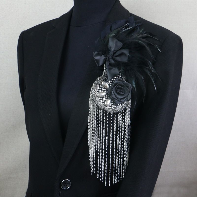 Vintage feather flower tassel badge brooches men suit decoration stage bridegroom brooch pins jewelry new year gifts handmade