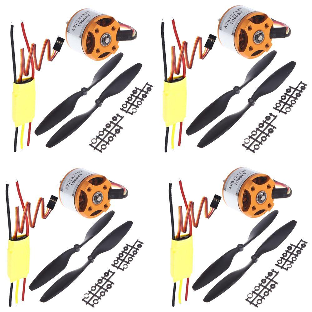 4 ensemble/lot Kit de pièces RC quadrirotor universel 1045 hélice (1 paire) + HP 30A sans balais ESC + A2212 1000KV moteur sans balais