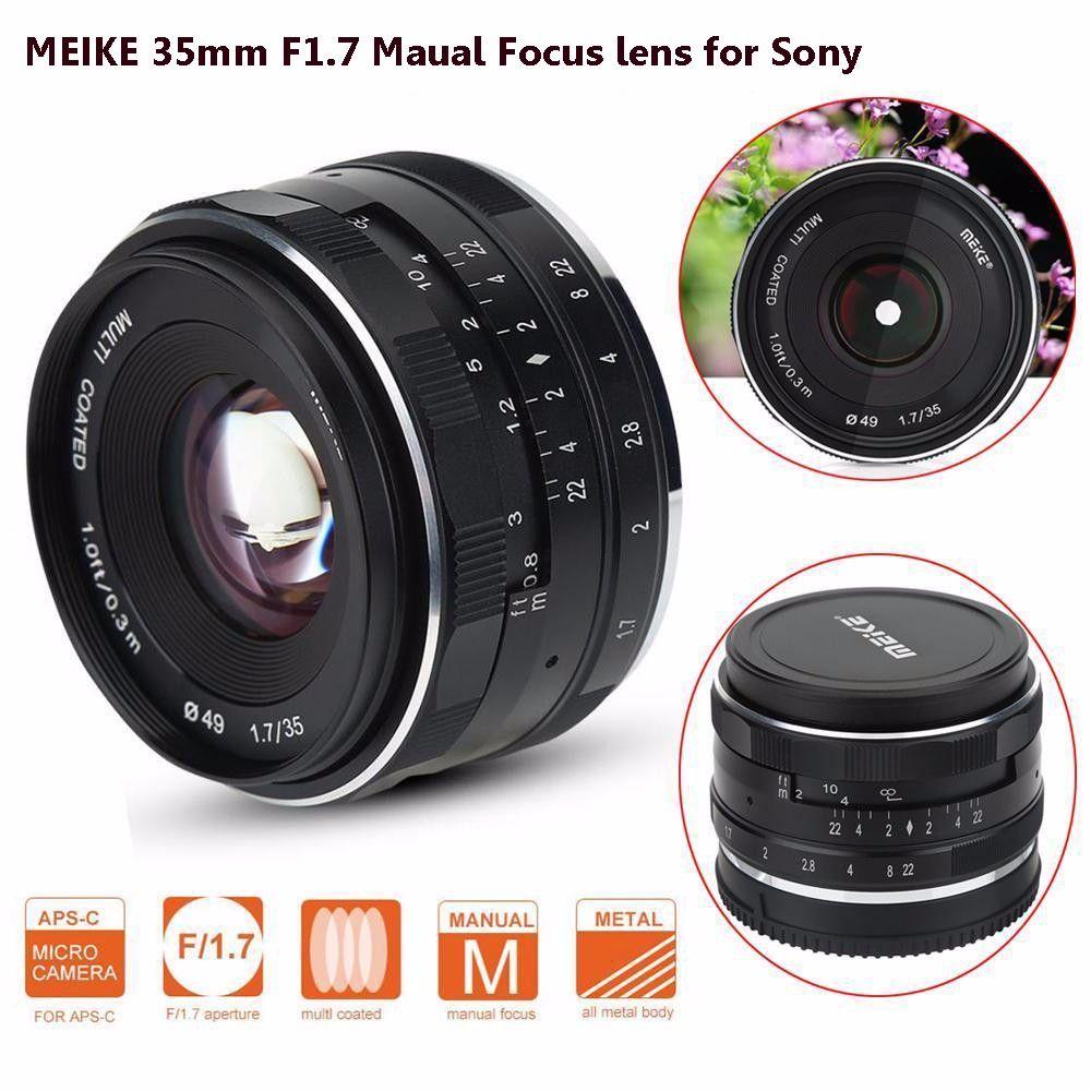 MEIKE MK-E-35-1.7 35mm F1.7 Große Blende Manueller Fokus APS-C Kamera Objektiv für Sony E Mount NEX3 NEX5 ILDC Spiegellose kamera