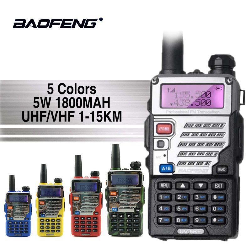 Baofeng UV-5RE Talkie Walkie Super Signal Double Bande De Poche Deux Way Ham Radio Communicateur UV-5R Plus HF Émetteur-Récepteur Amateur