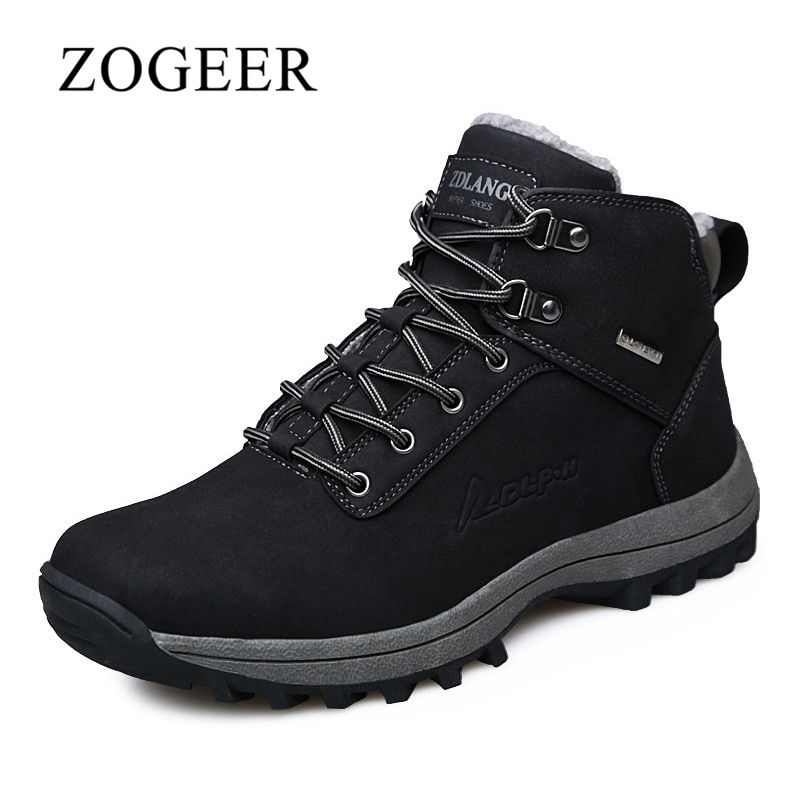 ZOGEER Big Size 39-46 Winter With Fur Men Boots, High Quality Leather Men's Winter Boots, 2017 New Man Rubber Booties