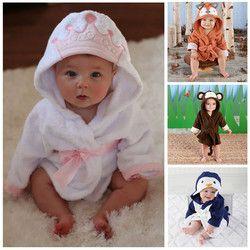 Gaun Katun baru lahir Pakaian Tidur Jubah Kartun Hoodies Piyama Bayi Tidur Pijamas Infantil Roupao Mandi Jubah Anak Bayi Perempuan Pakaian