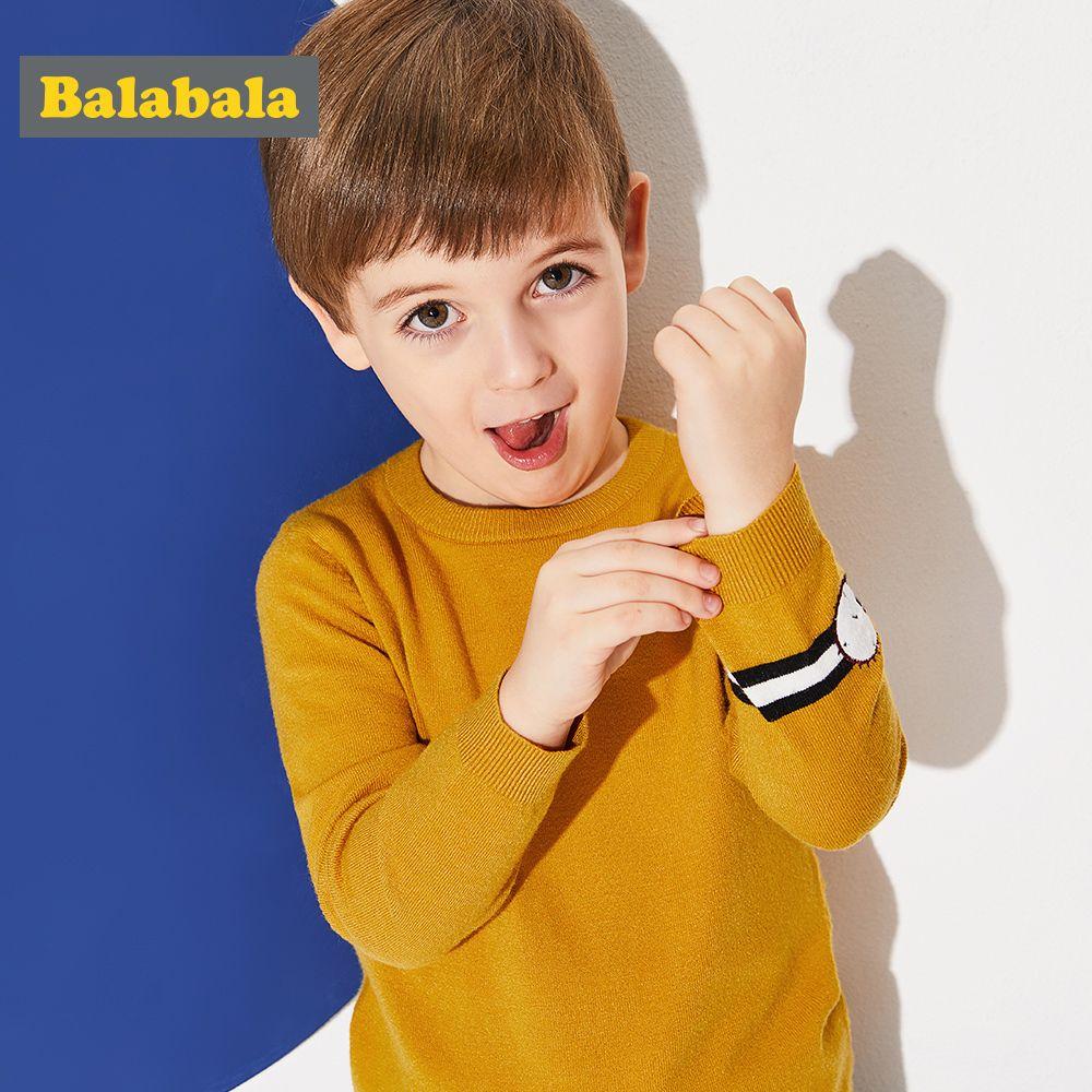 Balabala pull enfant en bas âge garçon pull en tricot côtelé pull avec fausse montre Applique à la manchette enfants garçon vêtements d'hiver hauts