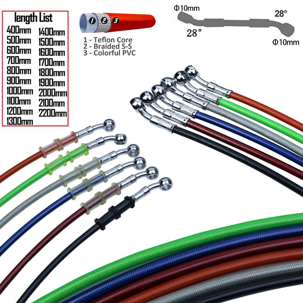 400mm - 2200mm Motorcycle Hydraulic Brake Hose Line Cable 10mm Banjo for Suzuki Kawasaki Yamaha honda Pipe Line Braided oil hose
