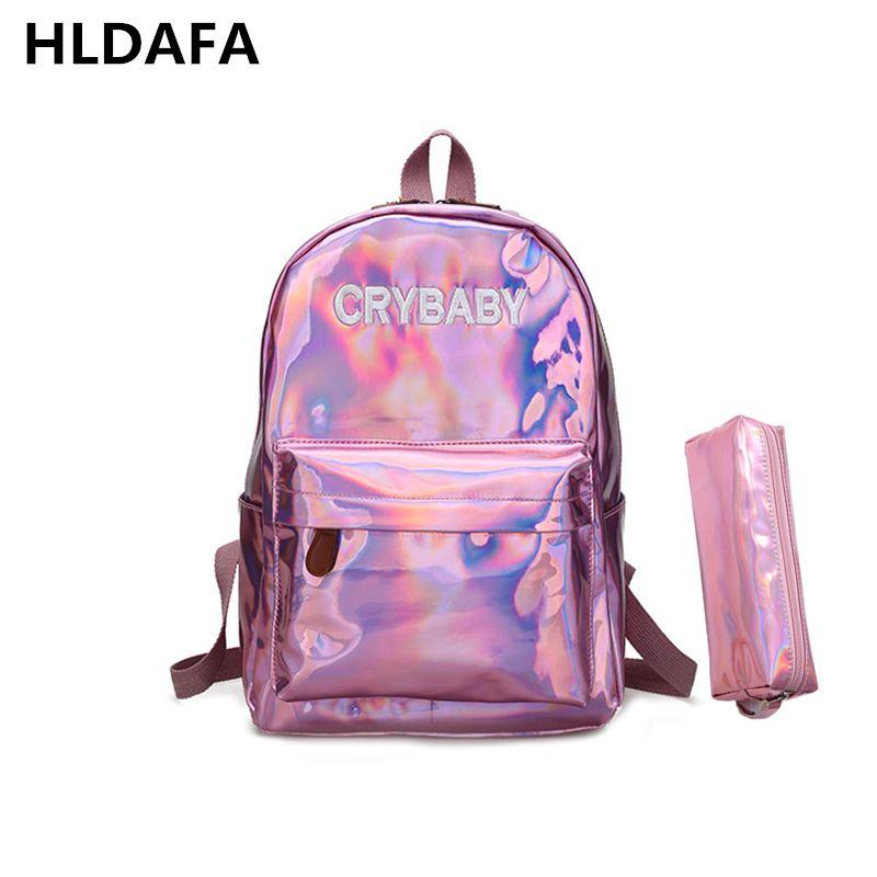 2017 New women hologram backpack laser daypacks girl school bag female silver pu leather holographic bags mochila Send a packet