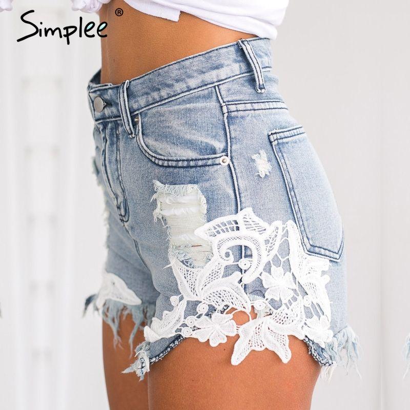 Simplee <font><b>2016</b></font> ripped pocket women shorts Summer casual denim shorts vintage hot shorts denim shorts for women
